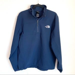 The North Face men's medium blue EUC half zip